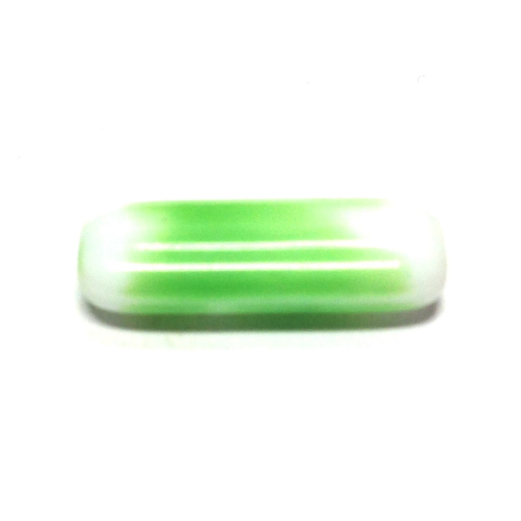 18X7MM Green Glass Rectangle Bead (72 pieces)