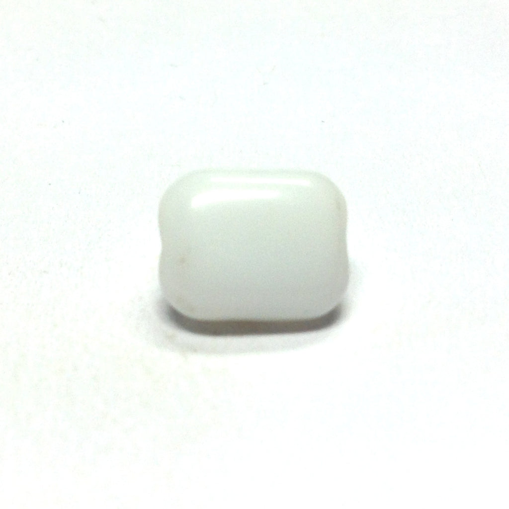 10X8MM White Glass Rectangle Bead (72 pieces)