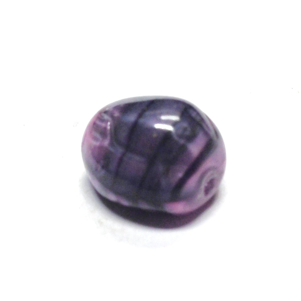 10X9MM Amy/Blk Fancy Glass Bead (36 pieces)