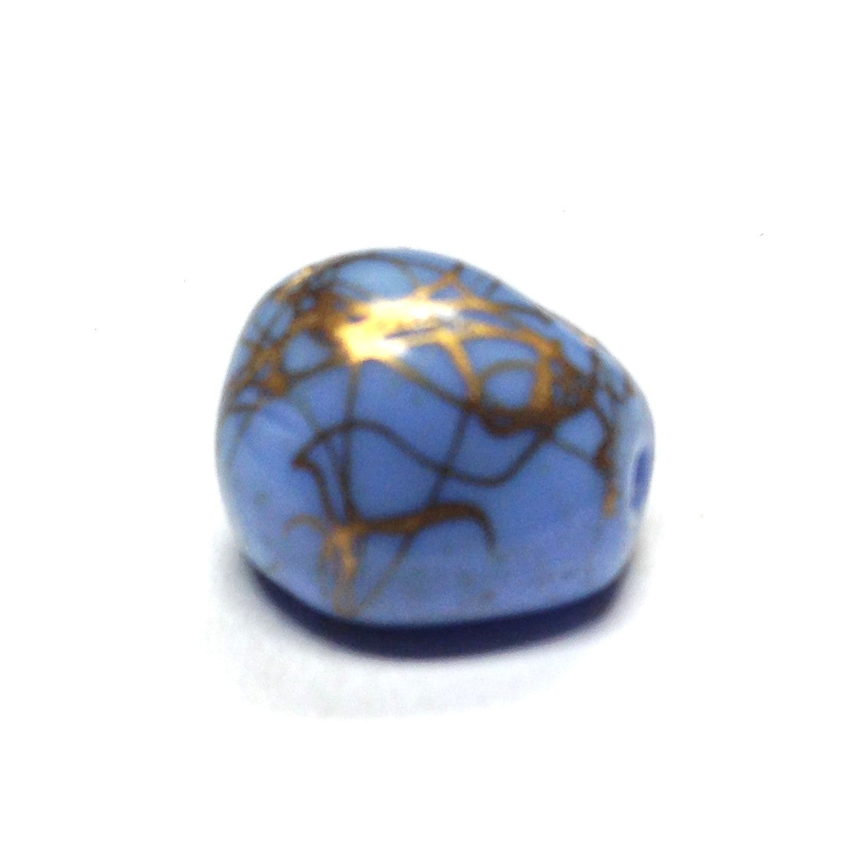 13X12MM Blue/Gold Fancy Glass Bead (36 pieces)