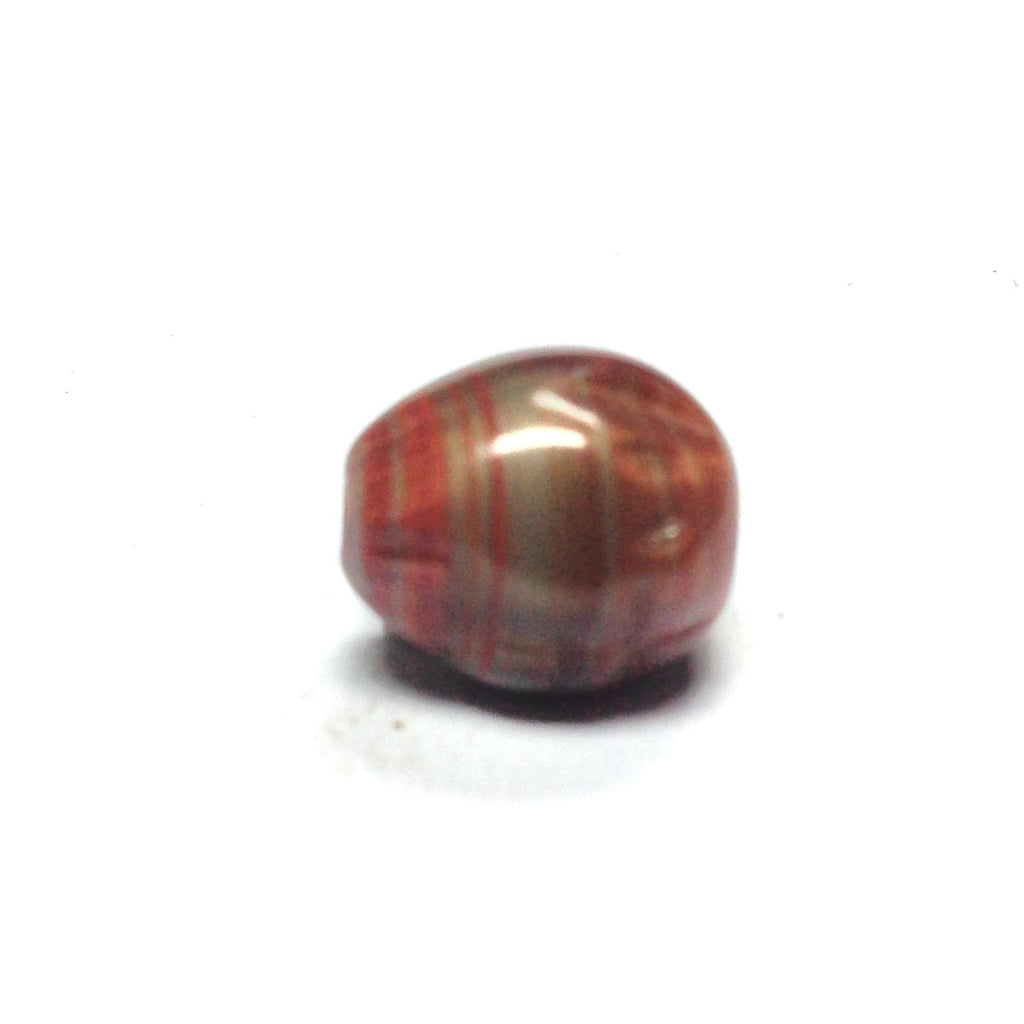 10X9MM Brn/Rust Fancy Glass Bead (36 pieces)