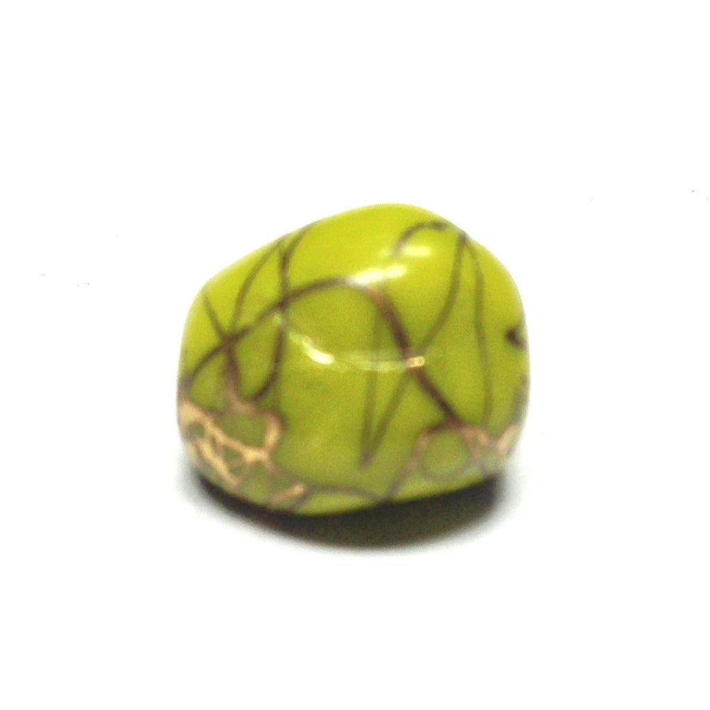 10X9MM Green/Gold Glass Bead (36 pieces)