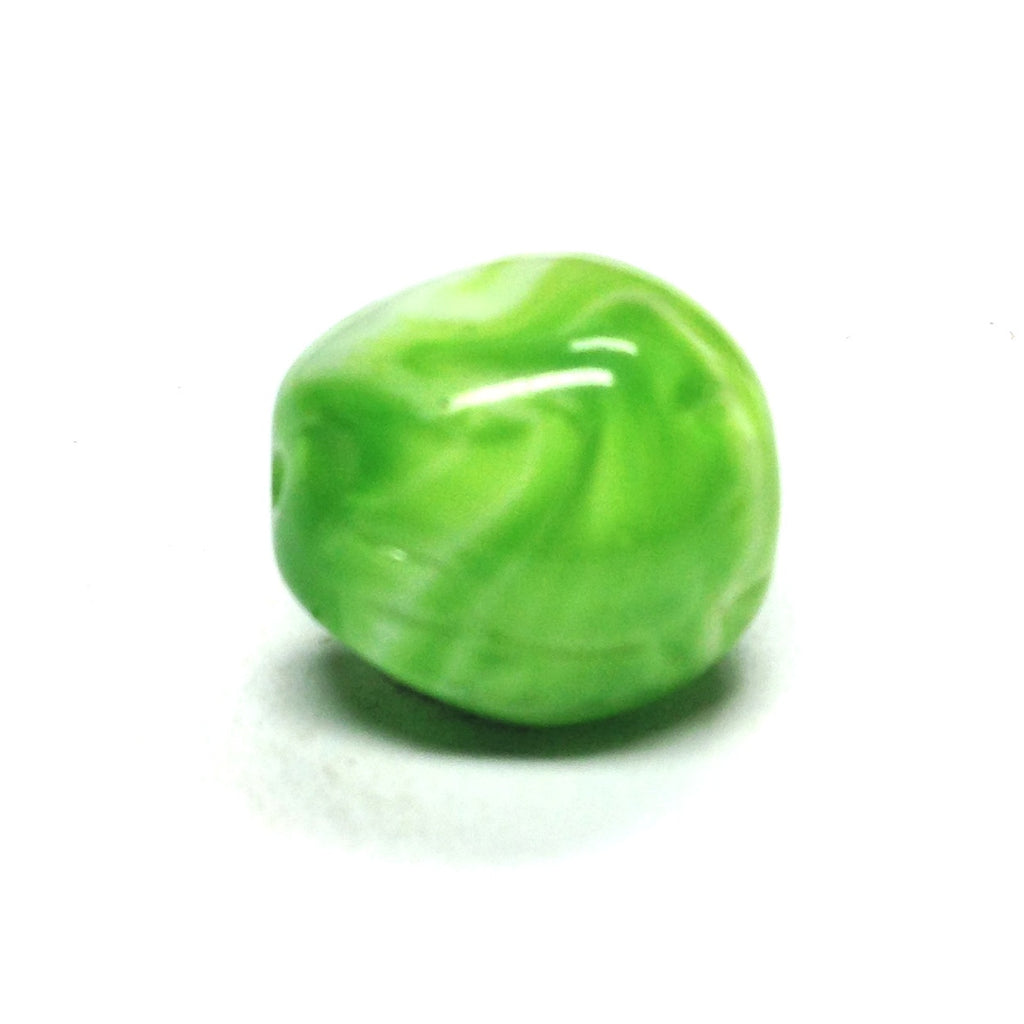 10X9MM Green/White Glass Bead (36 pieces)