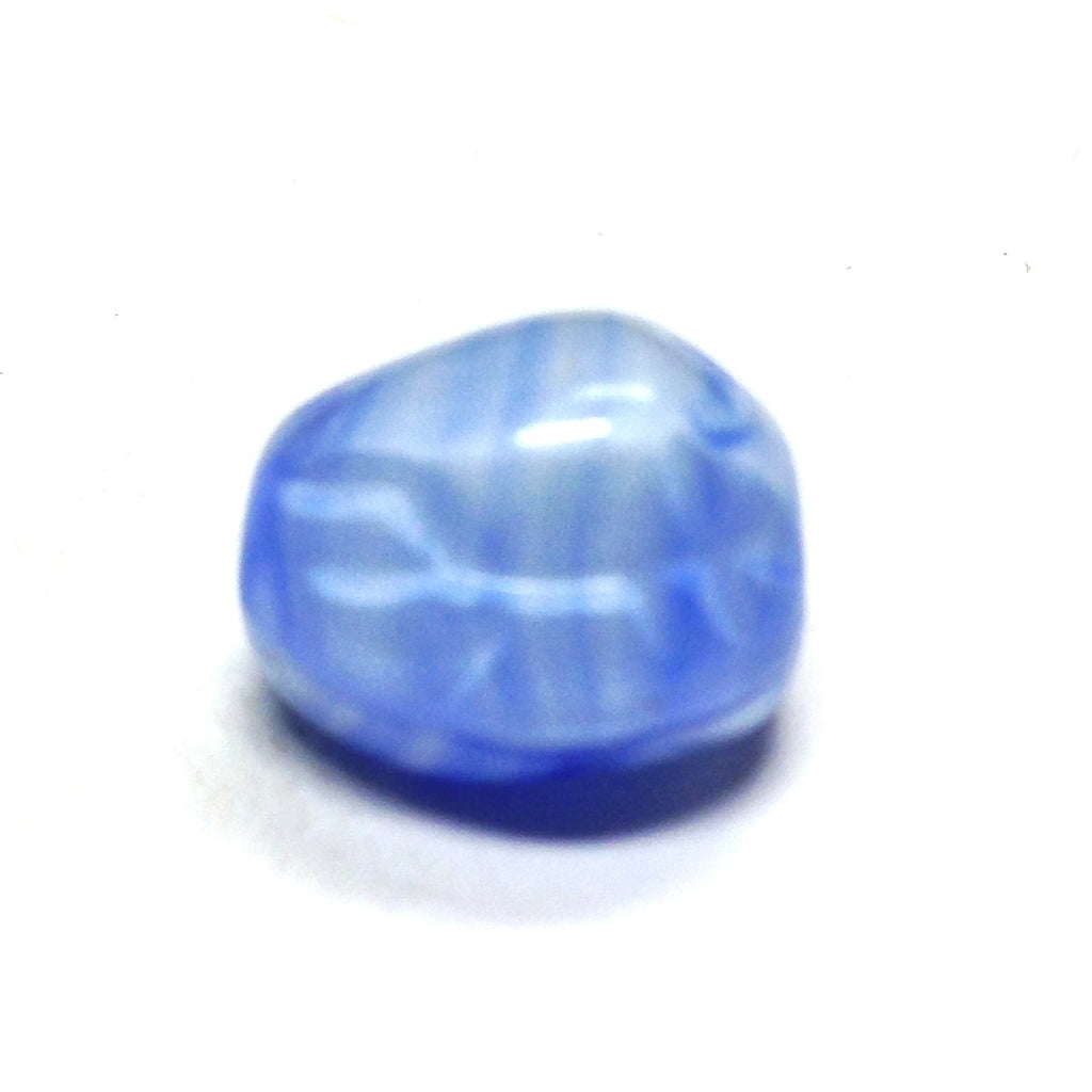 10X9MM Lt.Blu/Wht Fancy Glass Bead (36 pieces)