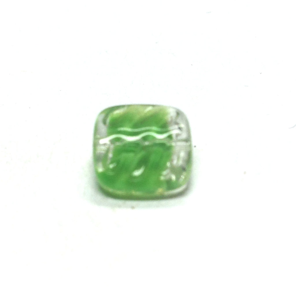 12MM Green Square Glass Bead (72 pieces)