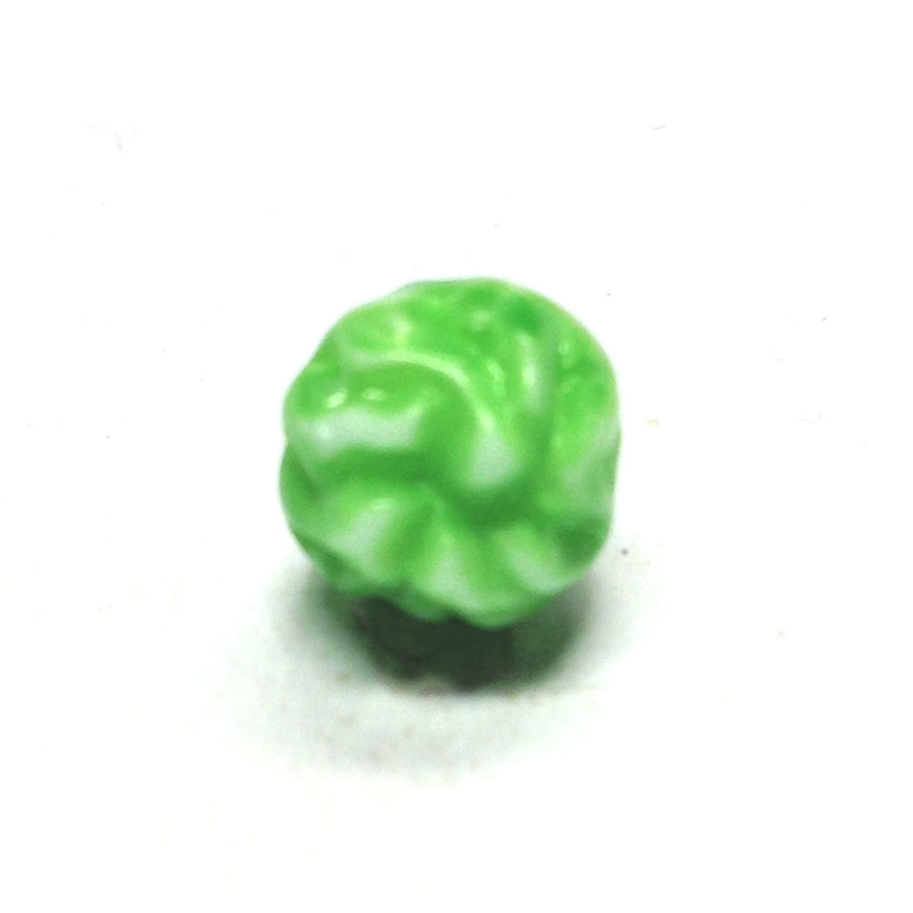 10MM Green/White Fancy Glass Bead (72 pieces)