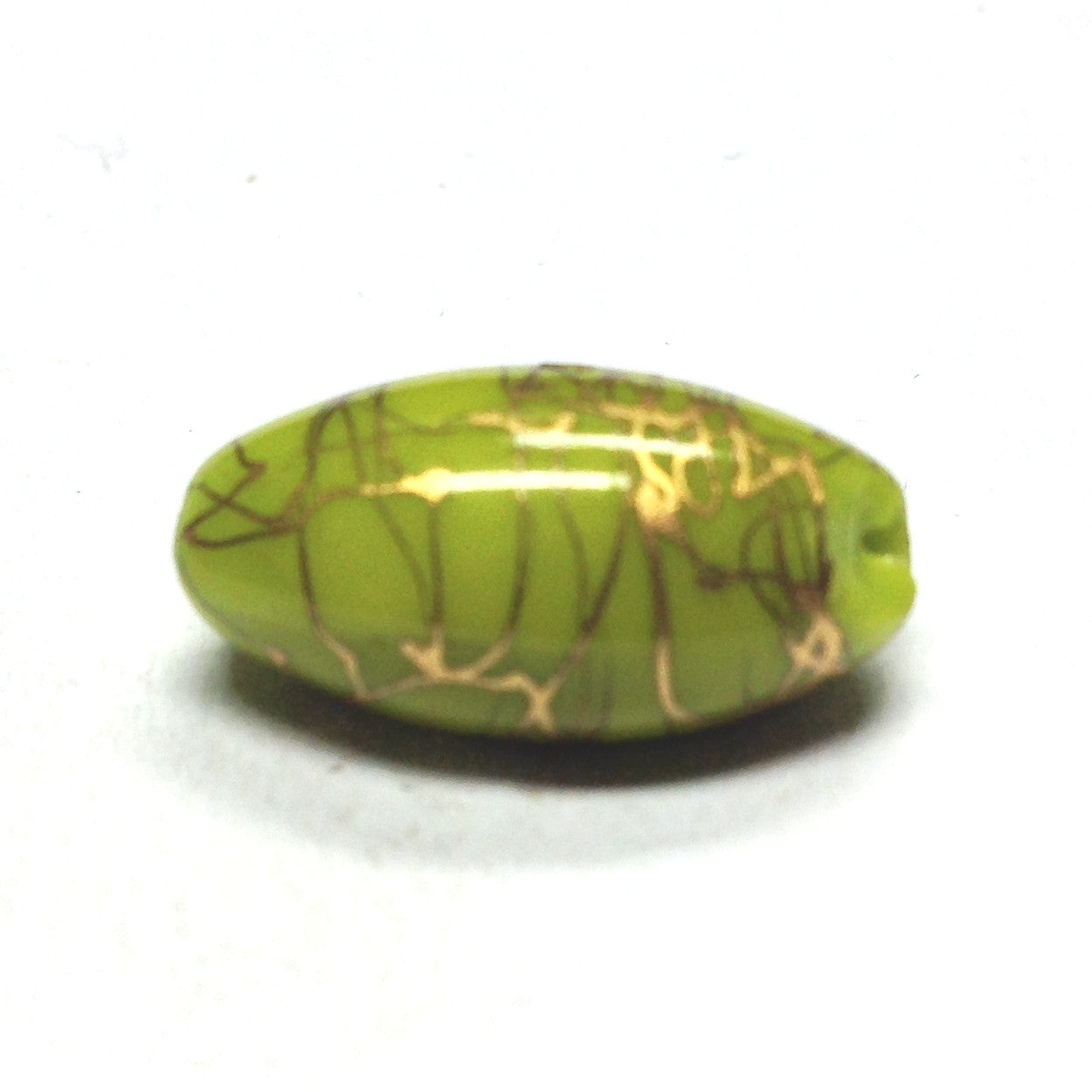 18X10MM Green/Gold Glass Oval Bead (12 pieces)