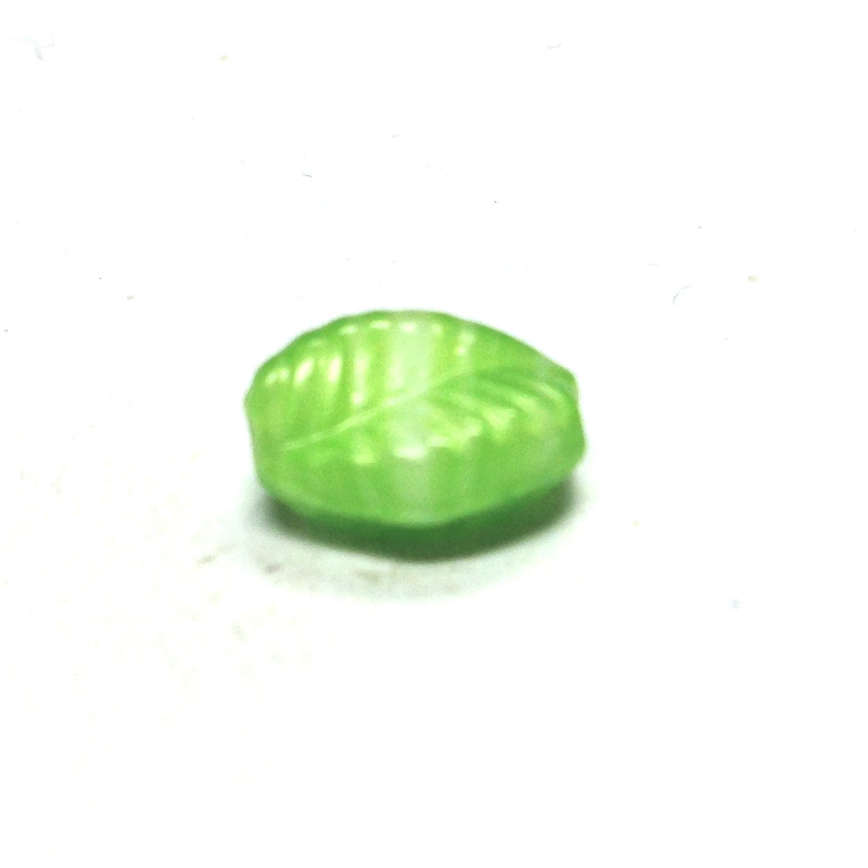 15X10MM Green Glass Leaf Bead (36 pieces)