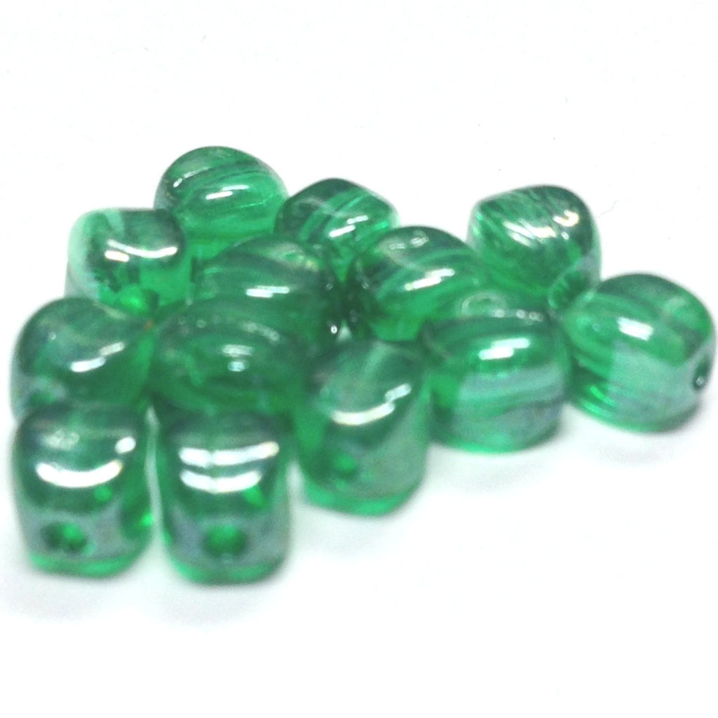5.5MM Emerald Green Lustered Glass Nugget Bead (144 pieces)