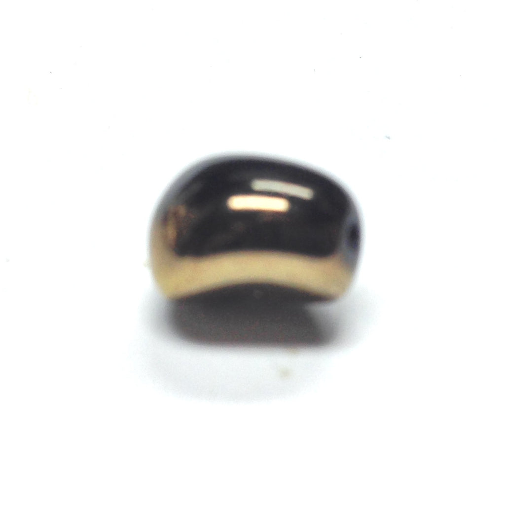 10X9MM Black/Gold Glass Oval Bead (36 pieces)