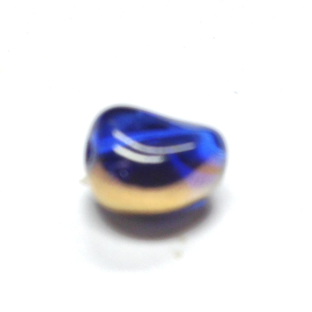 10X9MM Sapphire Blue /Gold Glass Oval Bead (36 pieces)