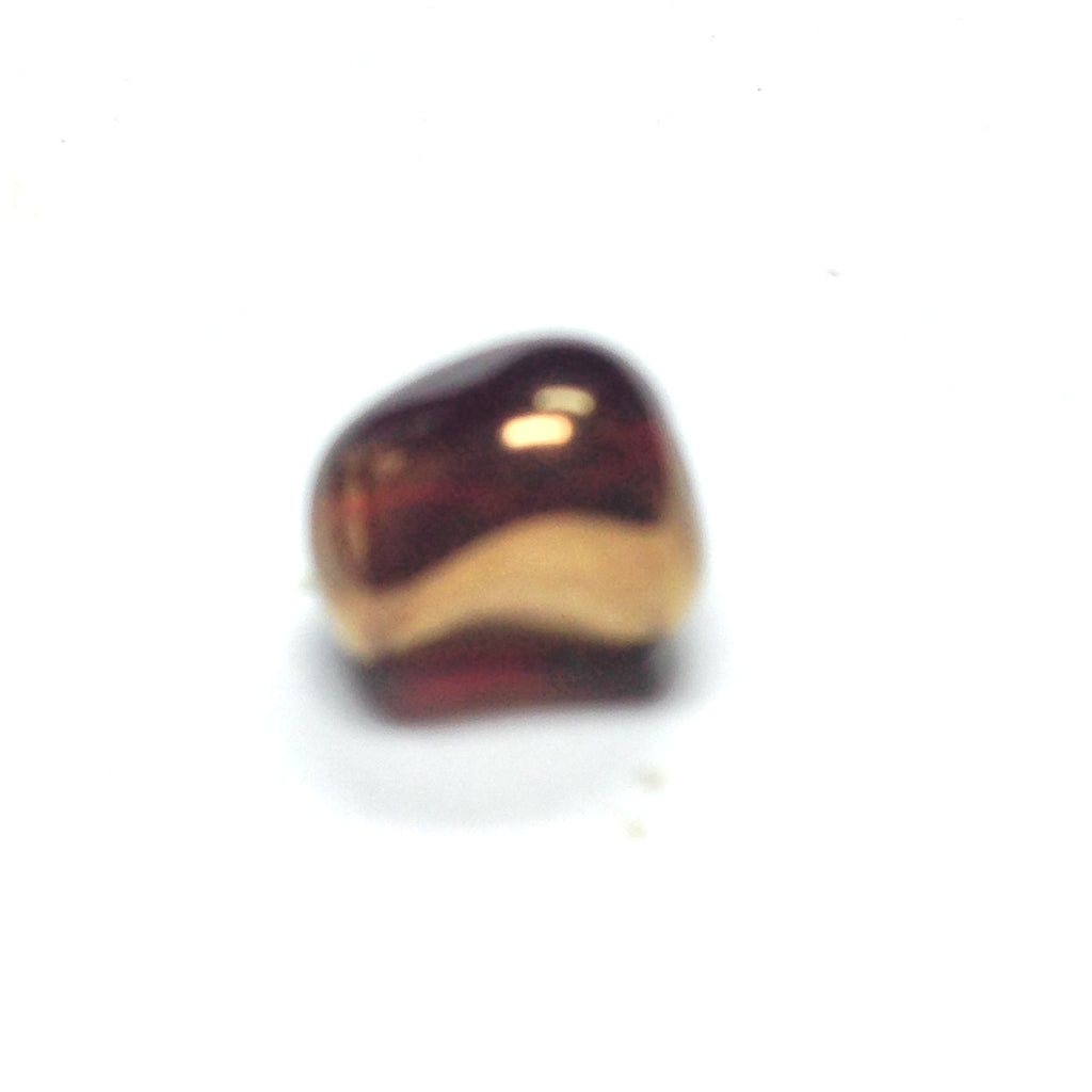 10X9MM Topaz/Gold Glass Oval Bead (36 pieces)
