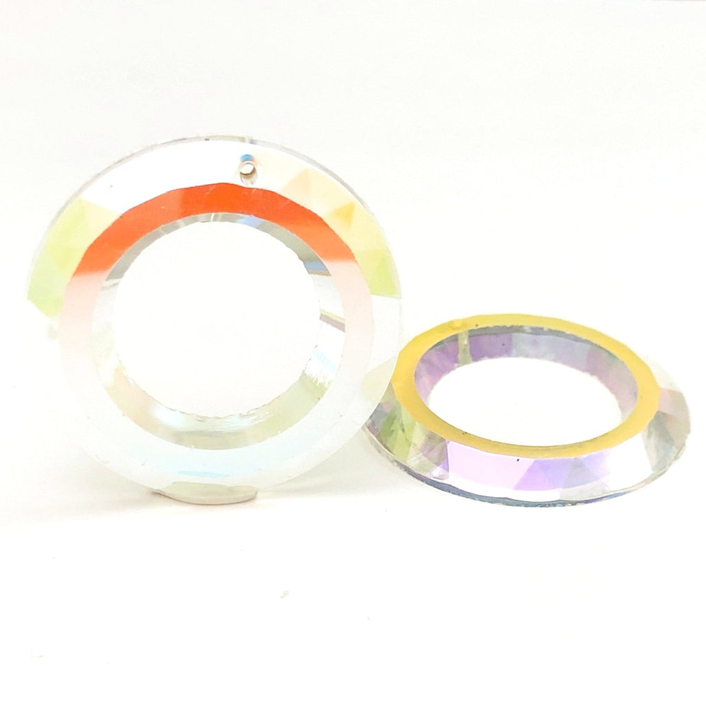 35MM Crystal Ab Faceted Flatback Ring Drop (6 pieces)
