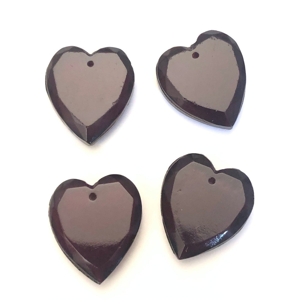 16X18MM Ruby Table Cut Glass Heart Drop (36 pieces)