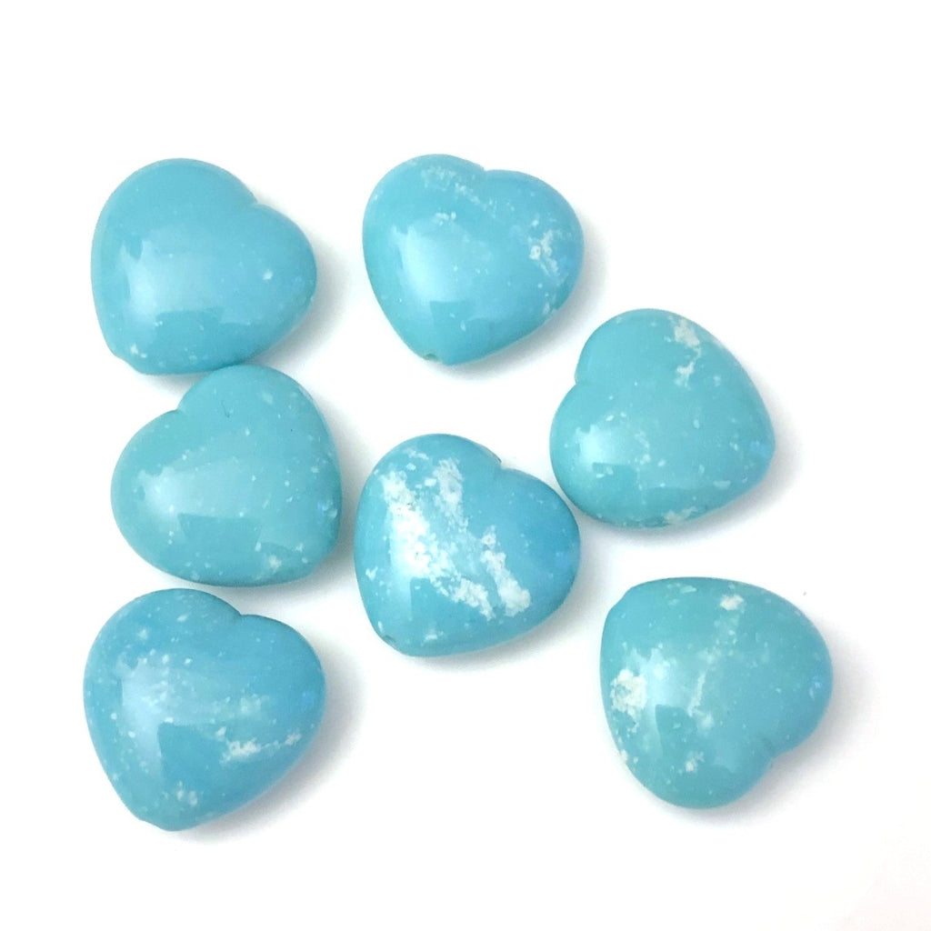 "15MM Turquoise ""Granite"" Heart Bead (72 pieces)"