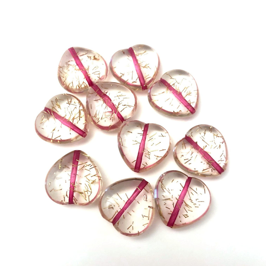 "15MM Crystal/Fuchsia/Gold ""Spiked"" Heart Bead (72 pieces)"