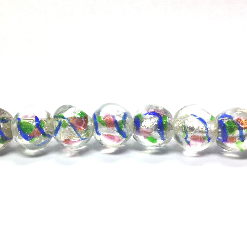 "11MM Round Glass Silver Foil Lamp Beads 16"" (1 strand)"