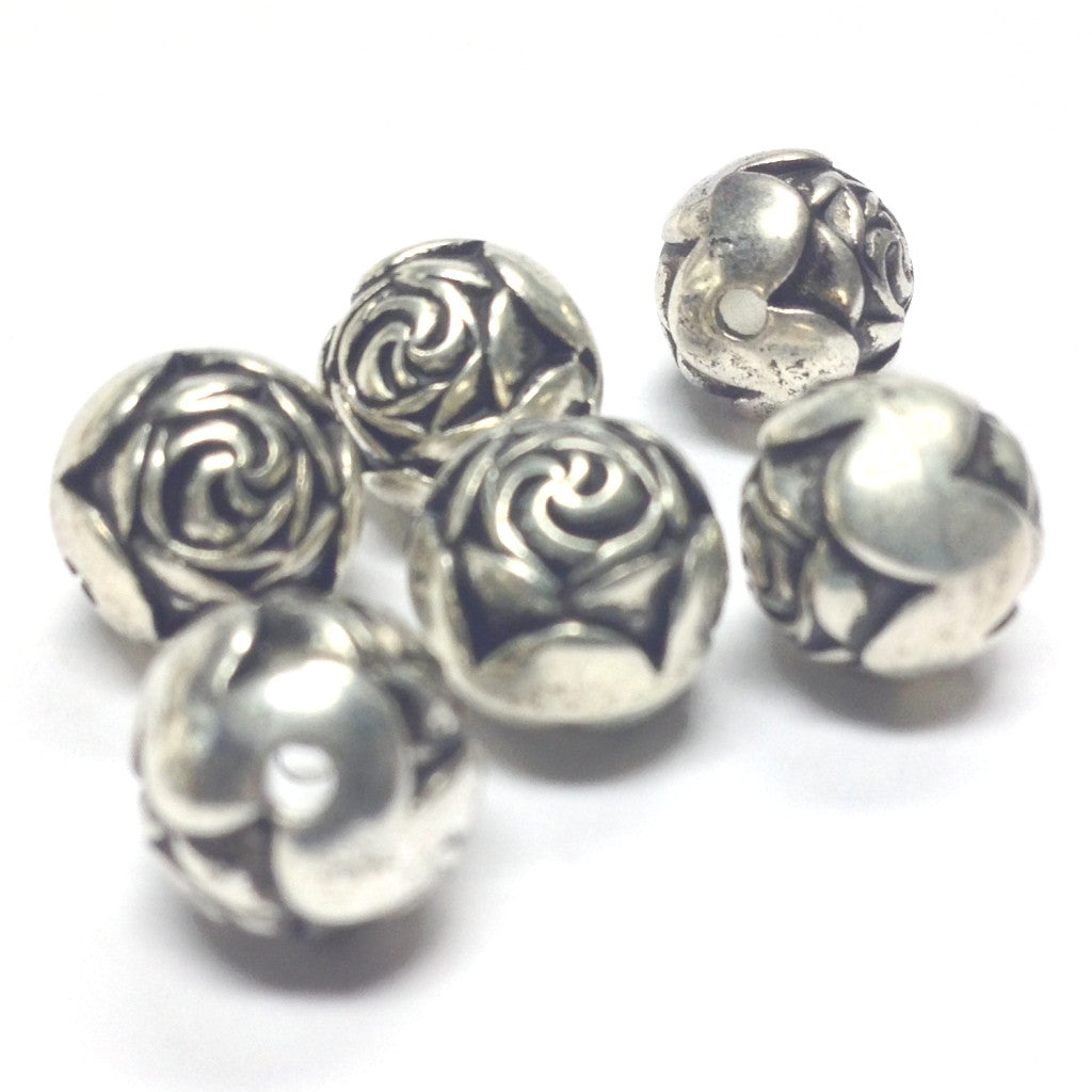 9MM Antique Silver Rosebud Bead (72 pieces)