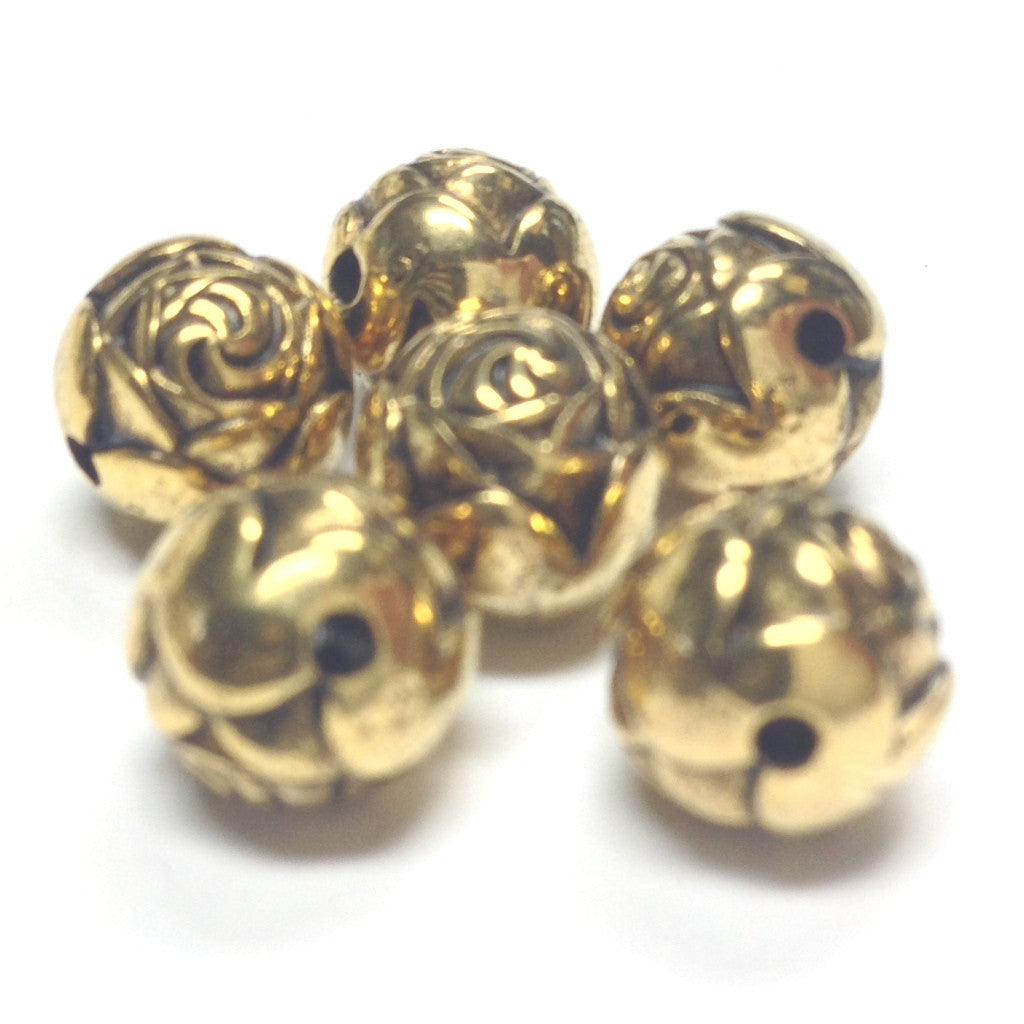 14MM Antique Ham. Gold Rosebud Bead (24 pieces)