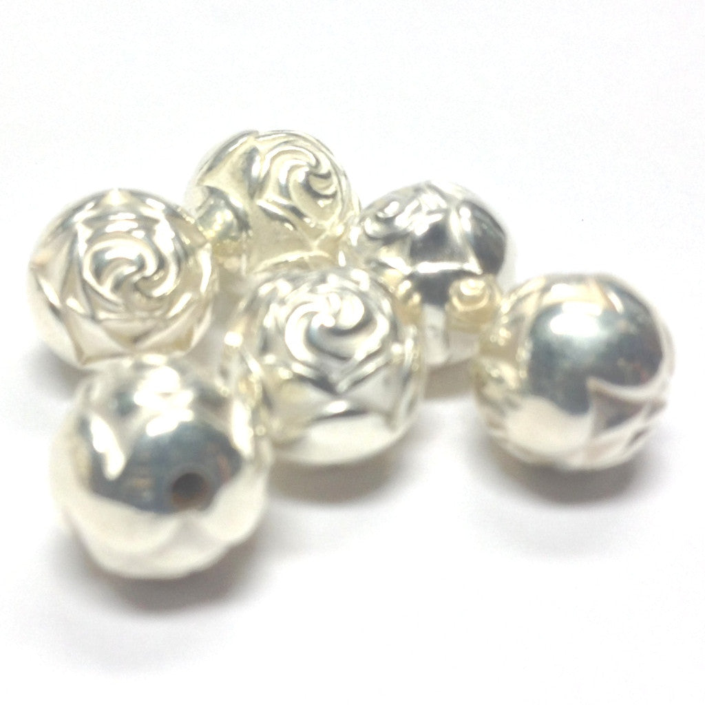 9MM Silver Rosebud Bead (72 pieces)