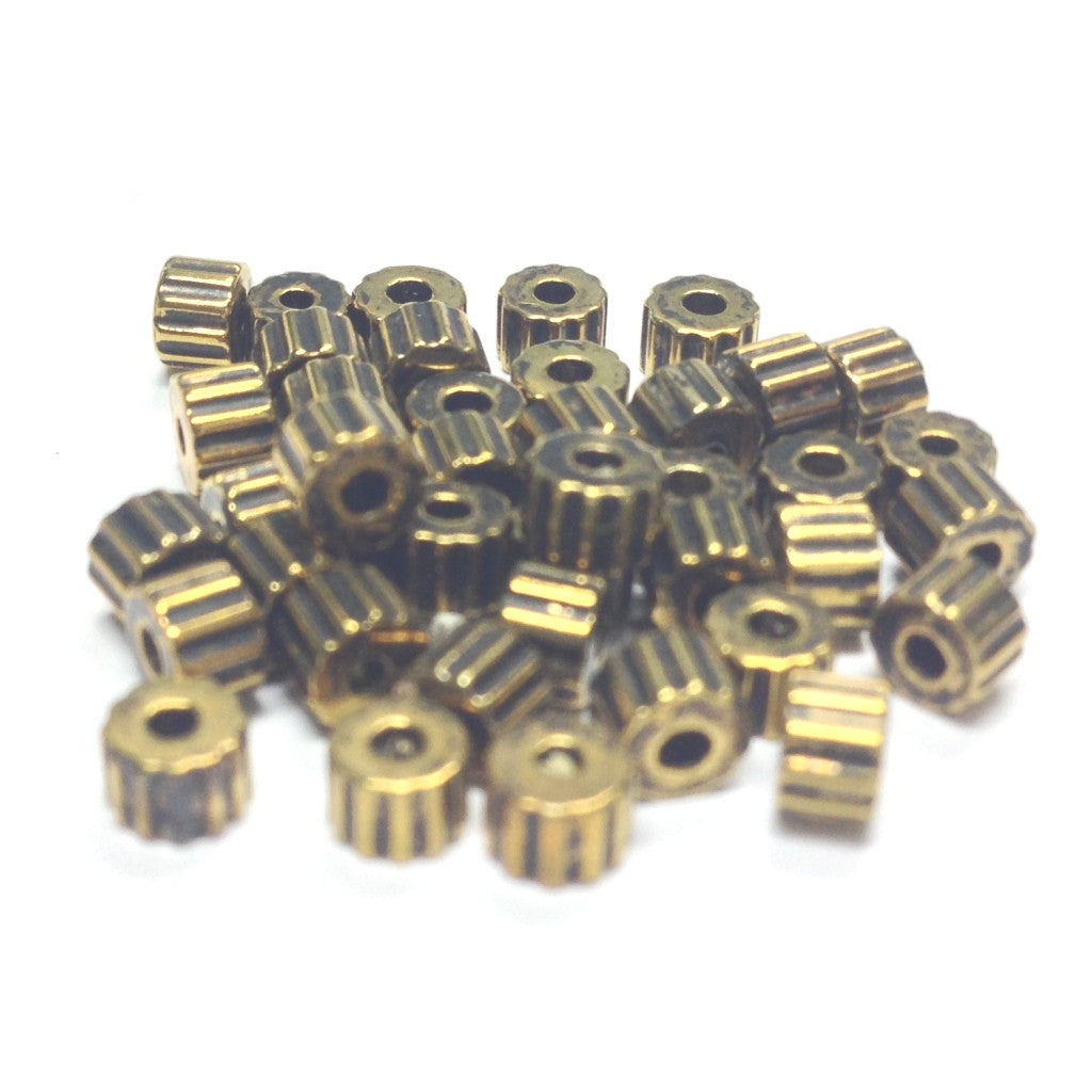4mm Ant.Ham.Gold Ribbed Rondel Bead (500 pieces)
