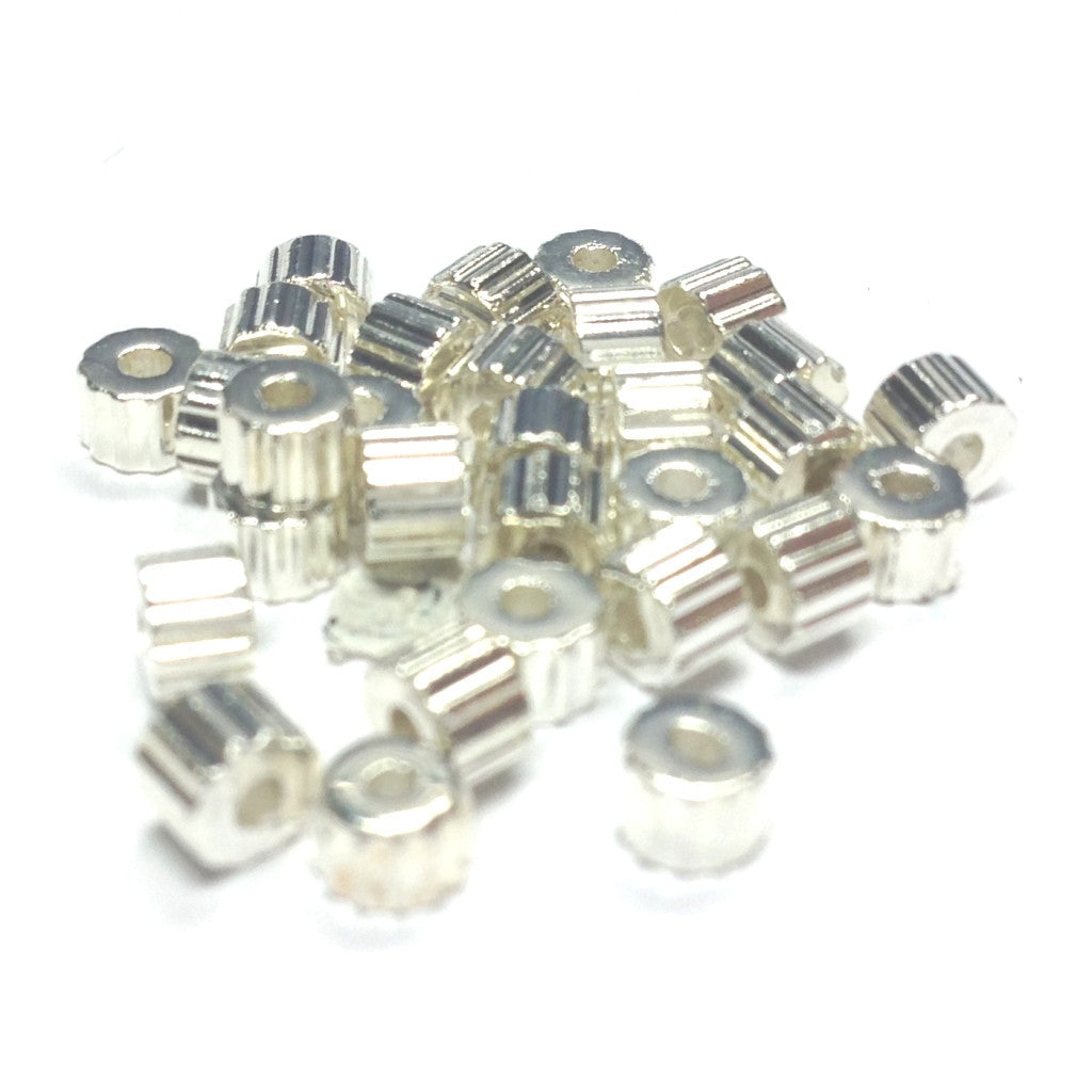 Silver Ribbed Rondel Bead (500 pieces)