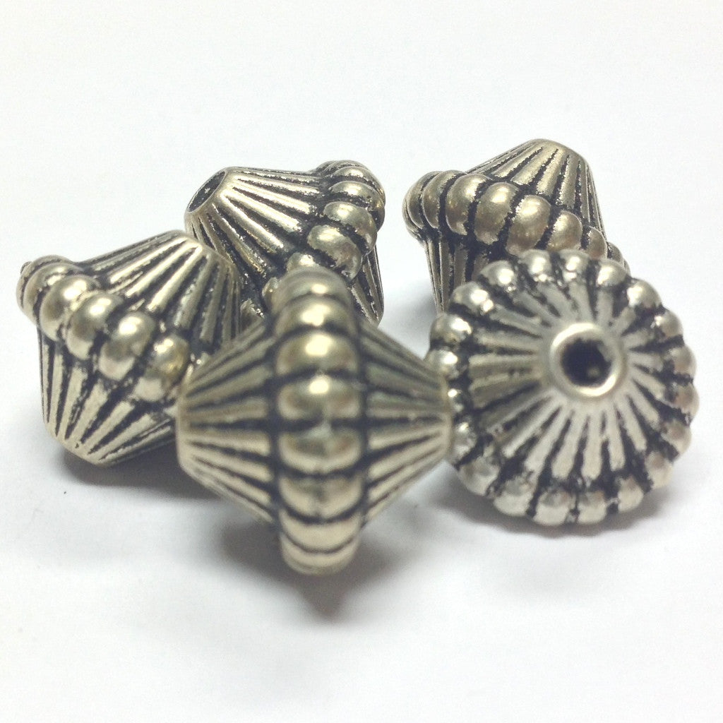 14MM Antique Silver Mushroom Bead (24 pieces)