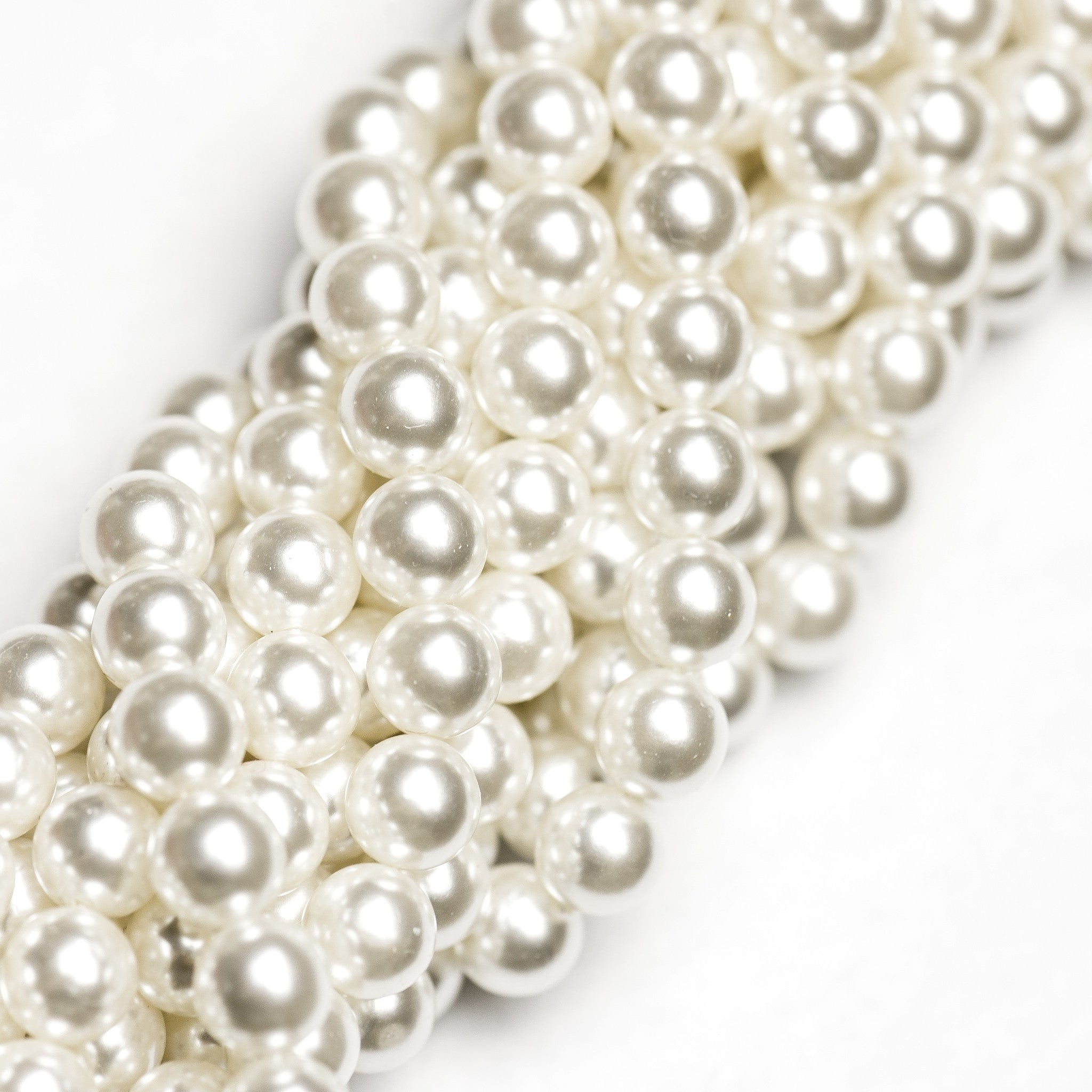 4MM White Pearl Beads 60""