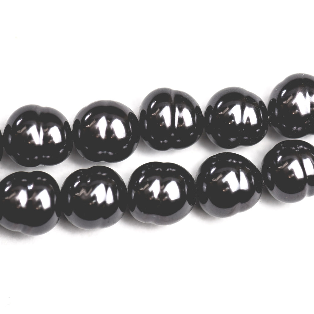 "10MM Baroque Black Glass Pearl Bead 30"" (1 piece)"
