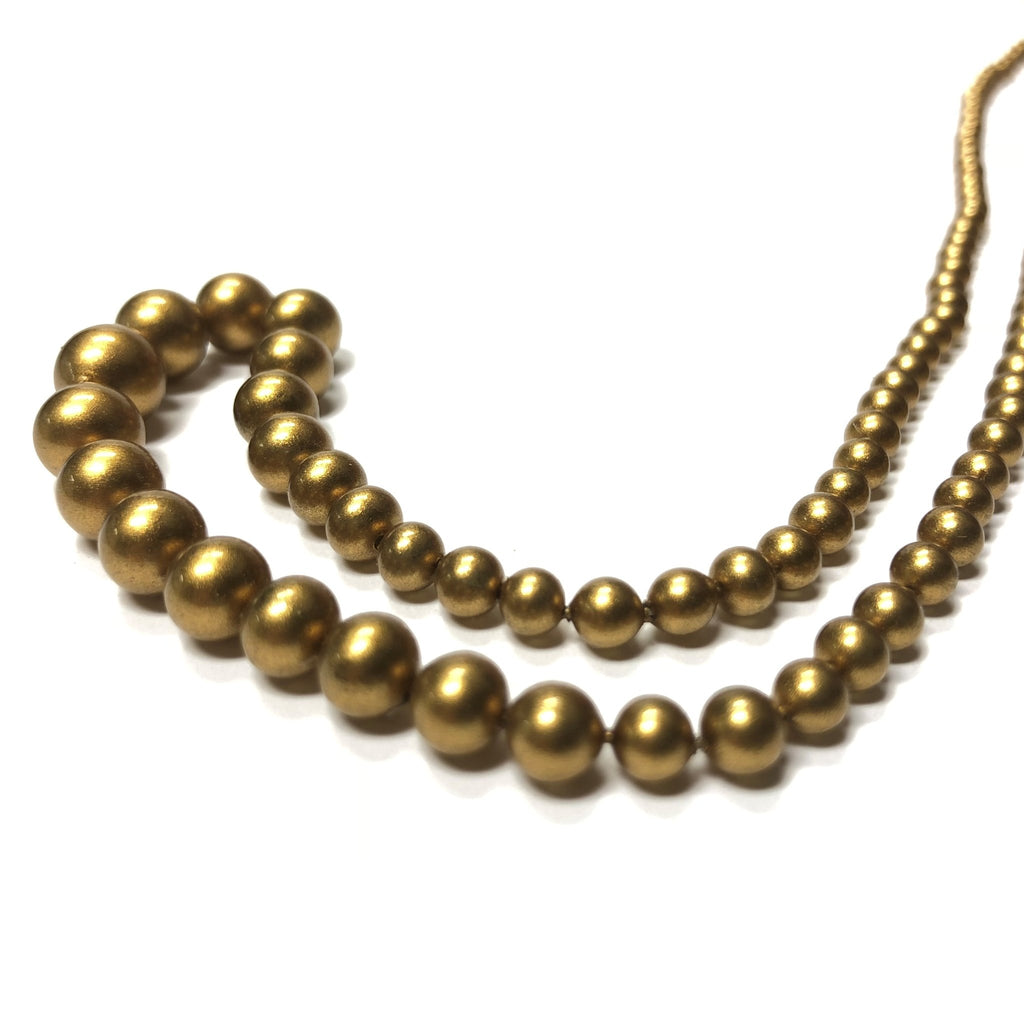 "3-8MM Clio Gold Round Glass Beads 18"" (1 string)"