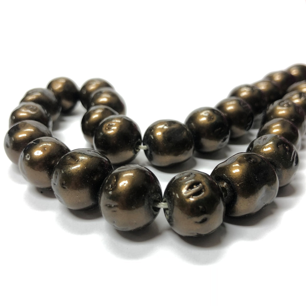 "14MM Clio Bronze Baroque Glass Beads 15"" (1 string)"