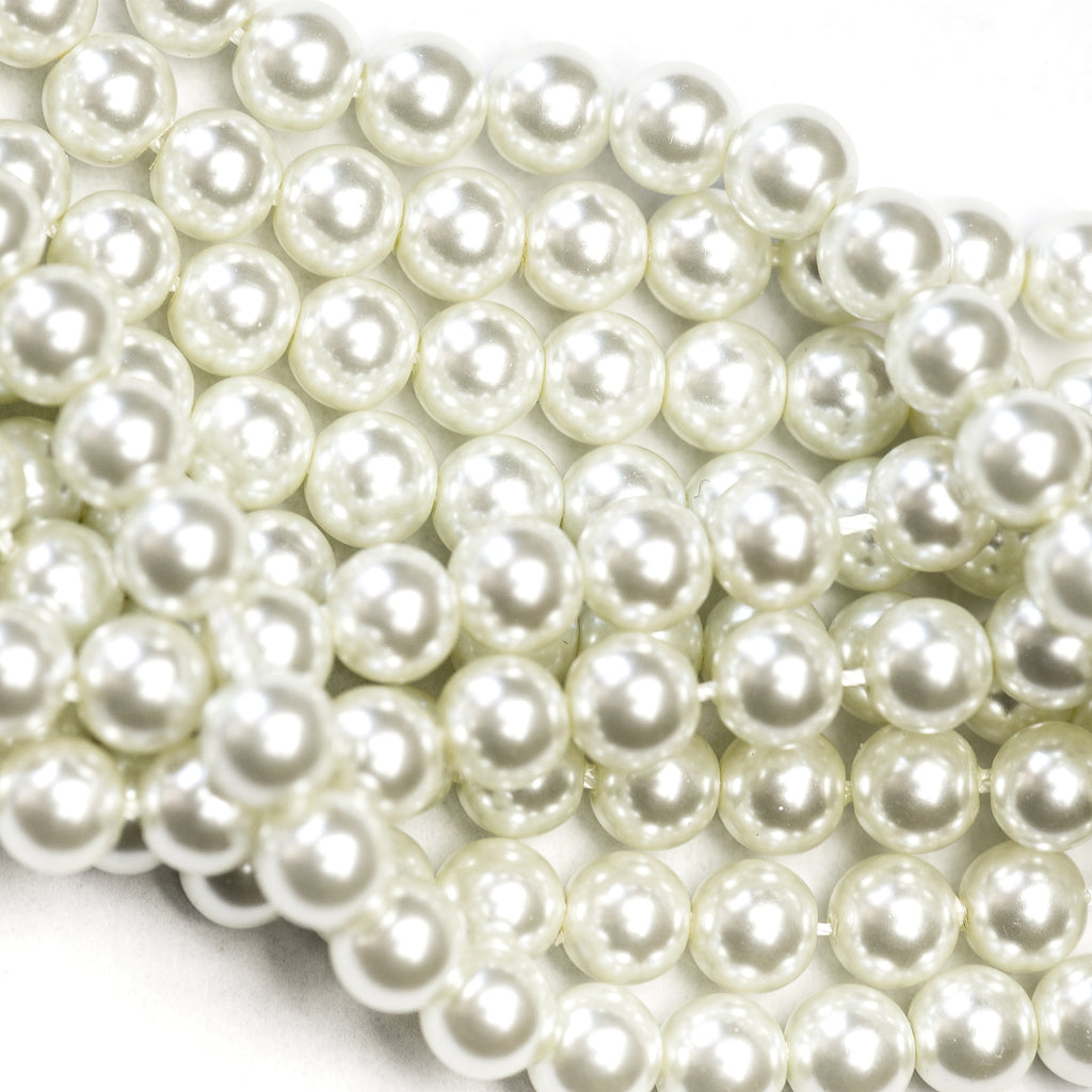 12MM White Glass Pearls 16""