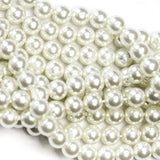 "8MM White Glass Pearls 16"" (1 dozen strands)"