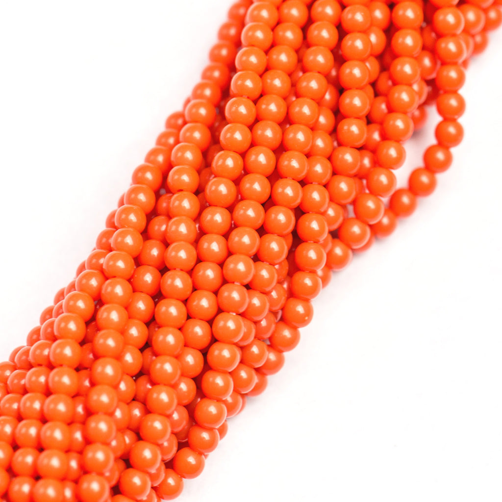 "4MM Opaque Orange Acrylic Beads 30"" (1 dozen strands)"