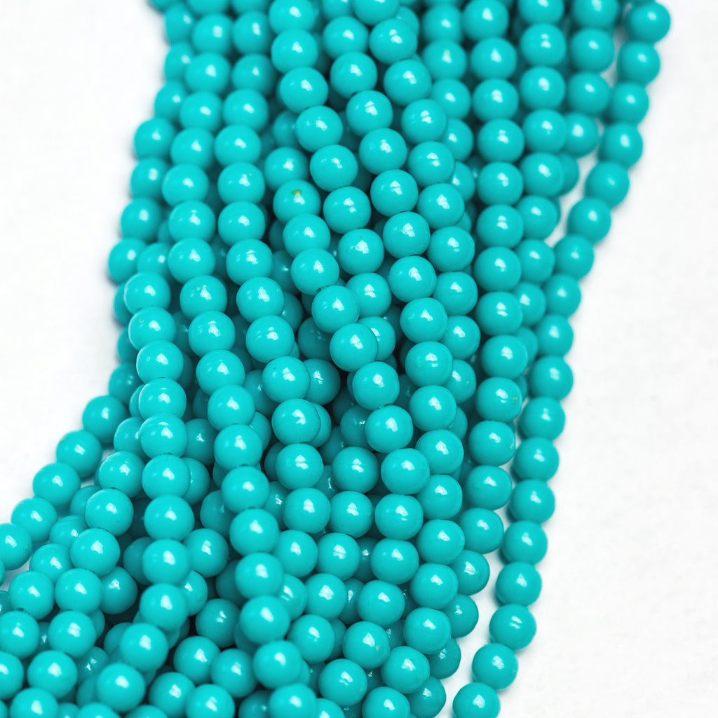"4MM Opaque Turquoise Acrylic Beads 30"" (1 dozen strands)"
