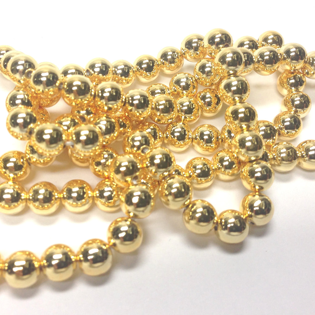 6MM Vacuum Plated Gold Beads 60""