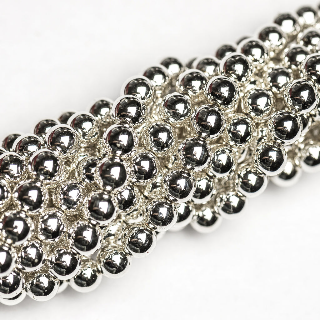 4MM Vacuum Plated Silver Beads 60""