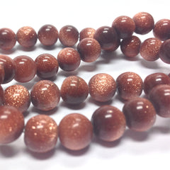 "10MM Goldstone Glass Beads 16"" (40 pieces)"