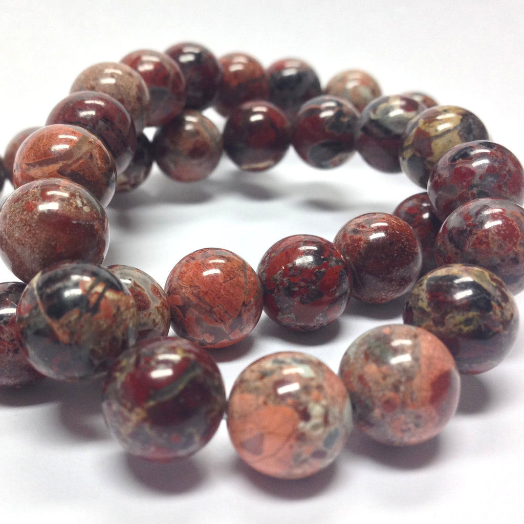 "10MM Red Flower Jasper Gemstone Beads 16"" (40 pieces)"