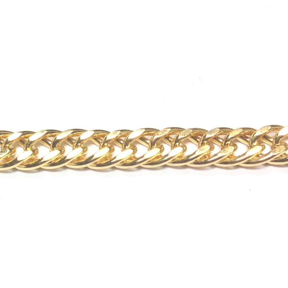 Gold Tone Plated Chain Steel Double Curb (1 foot)