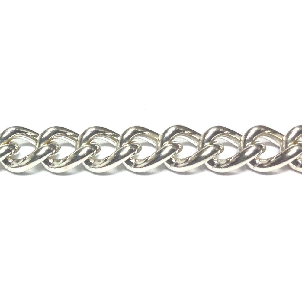 Im. Rhodium Plated Chain Steel Curb (1 foot)