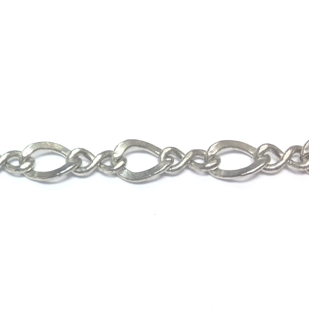 Silver Tone Plated Chain Brass Figaro (1 foot)