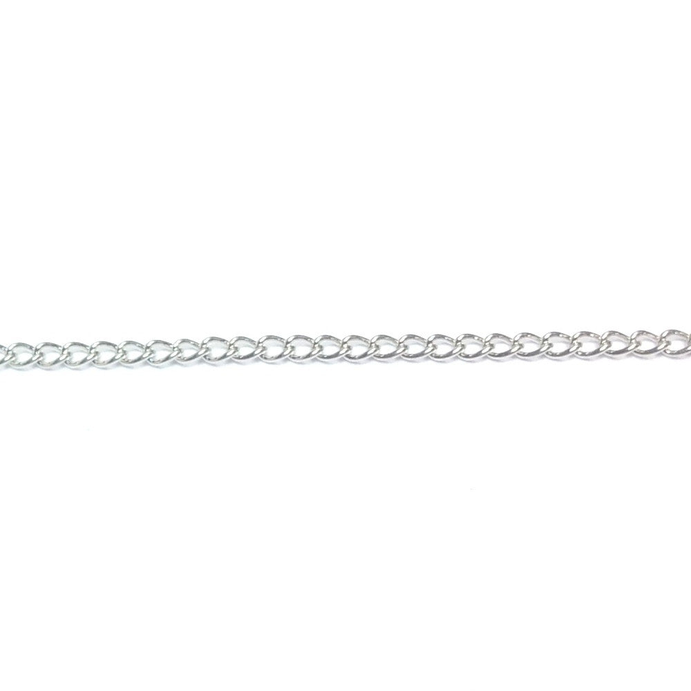 Im. Rhodium Plated Chain Brass Curb (1 foot)