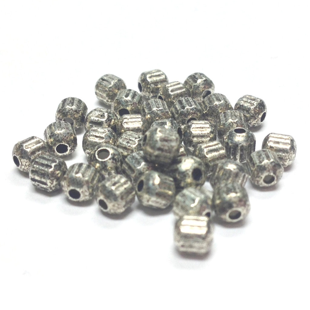 3.5MM Ant.Silver Fluted Bead (144 pieces)