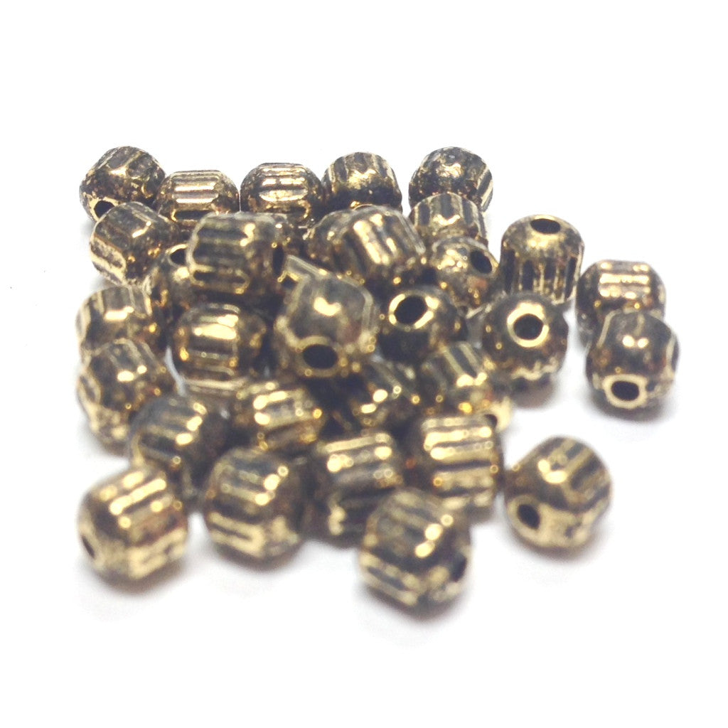 3.5MM Ant.Ham.Gold Fluted Bead (144 pieces)