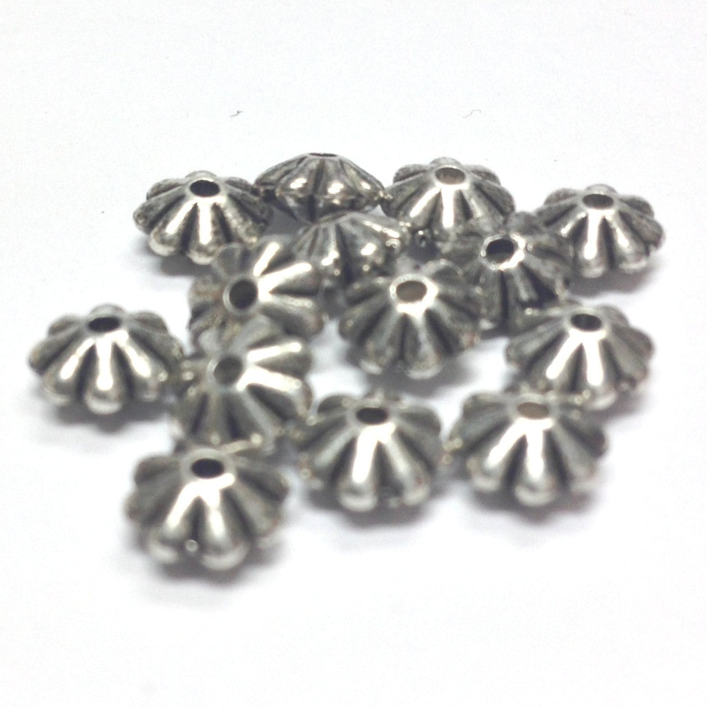 3X6MM Ant.Silver Daisy Rondel Bead (144 pieces)