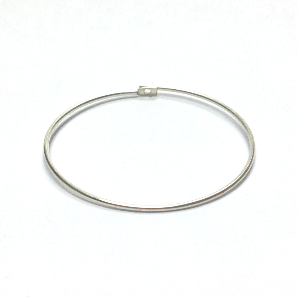 "2.5"" Round Wire Hoop With Flat End & Hole Silver (144 pieces)"