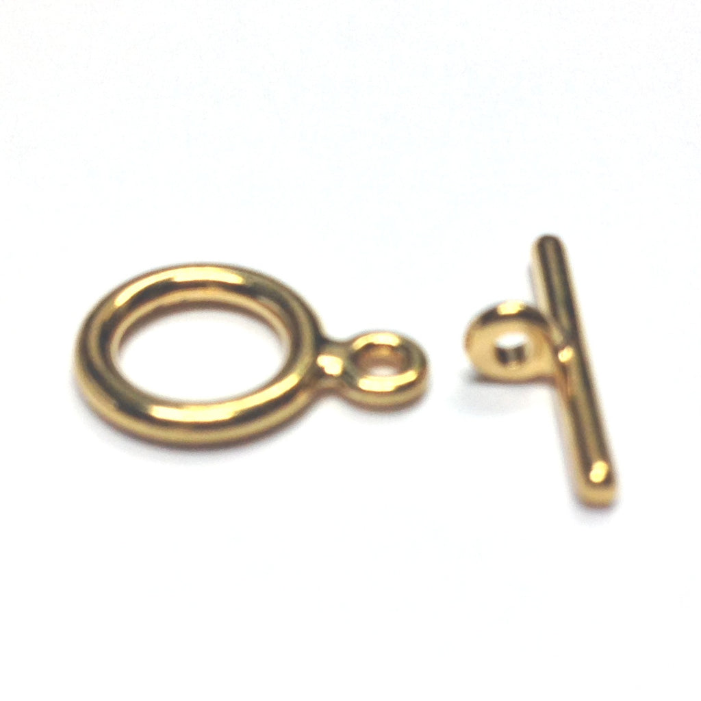 9MM Gold Plate Toggle Clasp (2 Piece Set) (144x2 pieces)