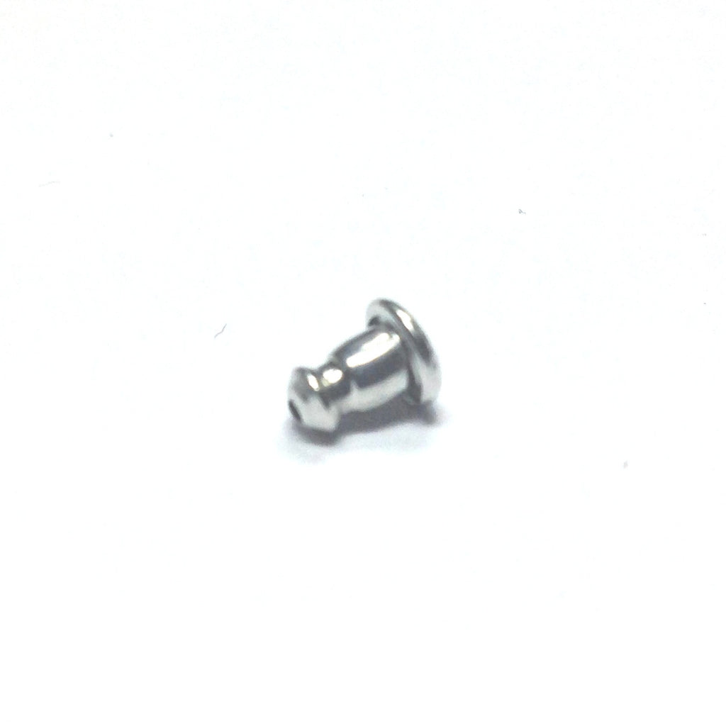 5.25X6.5MM Rhodium Barrel Ear Nut With Surgical Back 2 Gram (~288 pieces)
