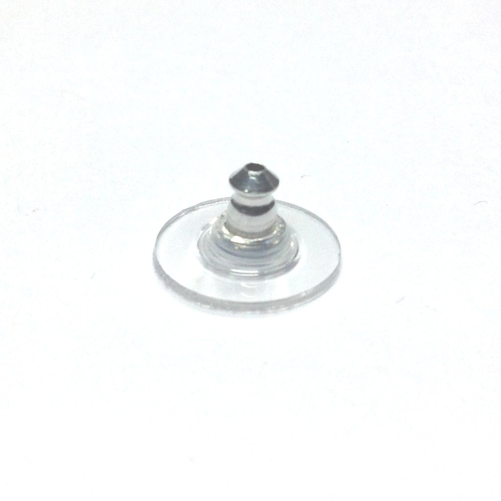 11MM Rhodium Plastic Rim Ear Nut With Aluminum Back (144 pieces)